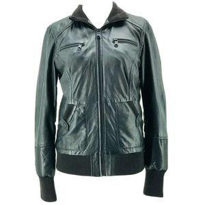 Marc New York Black Leather Bomber Jacket Small